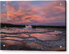 Dawn At Great Fountain Geyser Acrylic Print by Roman Kurywczak