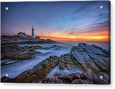 Dawn At Portland Head Lighthouse Acrylic Print by Rick Berk