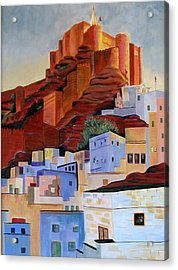 Dawn At The Fort In Jodhpur  Acrylic Print by Art Nomad Sandra  Hansen