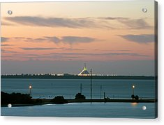 Dawn At The Sunshine Skyway Bridge Viewed From Tierra Verde Florida Acrylic Print by Mal Bray