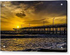 Dawn At The Virginia Pier Acrylic Print