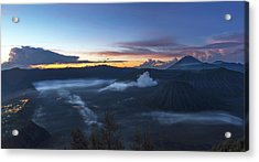 Dawn Breaking Scene Of Mt Bromo Acrylic Print