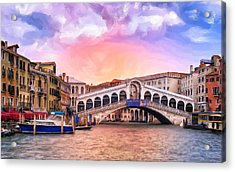 Dawn Light At Rialto Bridge Acrylic Print
