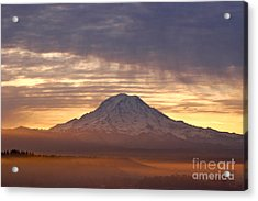 Dawn Mist About Mount Rainier Acrylic Print
