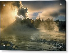 Dawn On Castle Geyser Acrylic Print by Sandra Bronstein