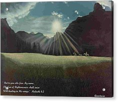 Acrylic Print featuring the painting Dawn Riders With Verse by Anastasia Savage Ealy
