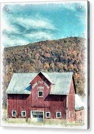 Dawn Till Dusk Farm Watercolor Acrylic Print by Edward Fielding