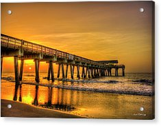 Acrylic Print featuring the photograph Dawn Under Tybee Island Pier Sunrise Reflections Art by Reid Callaway