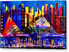 Day And Night Cityscape Acrylic Print