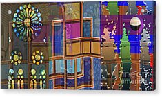 Day And Night Collage Photography Abstract Art From Church Walls Moon Hightide N Graphic Window View Acrylic Print by Navin Joshi