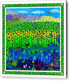 Day And Night In A Sunflower Field With Floral Border Acrylic Print
