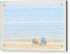 Acrylic Print featuring the digital art Day At The Beach Sun And Sand by Randy Steele