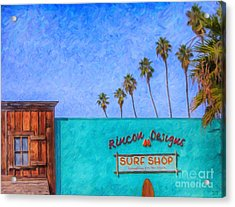 Day At The Surf Shop Acrylic Print by David Millenheft