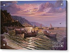 Acrylic Print featuring the painting Day Ends On The Amalfi Coast by Rosario Piazza