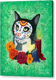 Acrylic Print featuring the painting Day Of The Dead Cat Candles - Sugar Skull Cat by Carrie Hawks