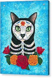 Day Of The Dead Cat - Sugar Skull Cat Acrylic Print