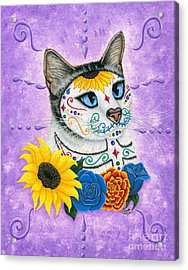 Day Of The Dead Cat Sunflowers - Sugar Skull Cat Acrylic Print
