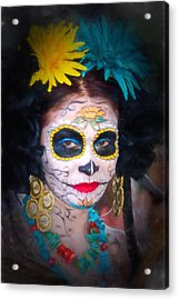 Day Of The Dead Flower Lady Acrylic Print