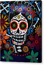 Day Of The Dead Frida Kahlo Painting Acrylic Print by Pristine Cartera Turkus
