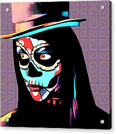 Day Of The Dead Skull Woman Wearing Top Hat Acrylic Print