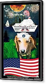Daydreaming Dachshund Doggie Gianni Comes Home Acrylic Print by PrettTea Art Gallery By Teaya Simms
