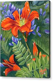 Acrylic Print featuring the painting Daylilies by Renate Nadi Wesley