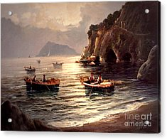 Acrylic Print featuring the painting Day's End And Work Begins In The Gulf Of Naples by Rosario Piazza