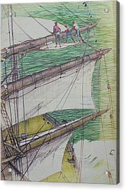 Acrylic Print featuring the drawing Days Of Sail by Mike Jeffries