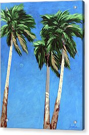 Acrylic Print featuring the painting Daytime Moon In Palm Springs by Linda Apple