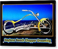 Daytona Beach Chopper Dreaming Yellow Gold Jgibney The Museum Acrylic Print by The MUSEUM Artist Series jGibney