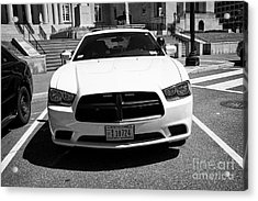 dc metropolitan police dodge charger pursuit cruiser  judiciary square Washington DC USA Acrylic Print