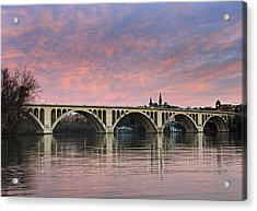 Dc Sunrise Over The Potomac River Acrylic Print by Brendan Reals