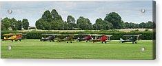 Acrylic Print featuring the photograph De Havilland Tiger Moths Line-up by Gary Eason
