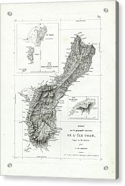 Acrylic Print featuring the drawing De L Ile Gwam Guam by Freycinet  DuPerry
