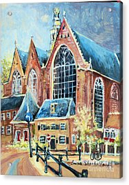 Acrylic Print featuring the painting De Ode Kerk by Linda Shackelford