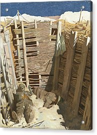 Dead Germans In A Trench Acrylic Print by William Orpen