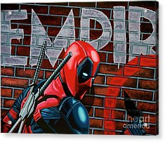 Deadpool Painting Acrylic Print by Paul Meijering