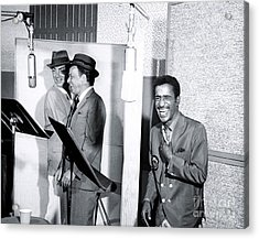 Dean Martin, Frank Sinatra And Sammy Davis Jr. At Capitol Records Studios Acrylic Print