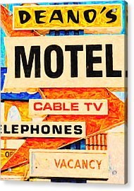 Deanos Motel Acrylic Print by Wingsdomain Art and Photography