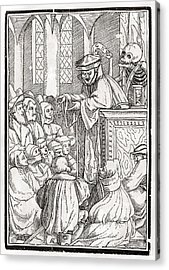 Death Comes For The Preacher Woodcut By Acrylic Print by Vintage Design Pics