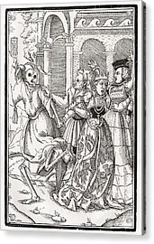 Death Comes For The Queen Woodcut By Acrylic Print by Vintage Design Pics