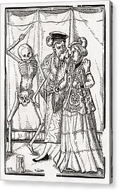 Death Comes To The Duchess Woodcut By Acrylic Print by Vintage Design Pics