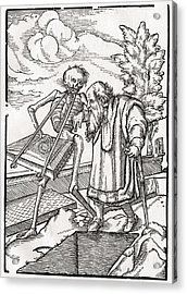Death Comes To The Old Man Or The Acrylic Print by Vintage Design Pics