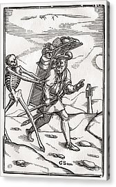 Death Comes To The Pedlar Woodcut By Acrylic Print by Vintage Design Pics