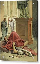 Death Of Julius Caesar, Rome, 44 Bc  Acrylic Print by Spanish School