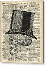 Death Skull With Victorian Hat Acrylic Print by Jacob Kuch