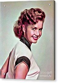 Debbie Reynolds, Hollywood Legend, Digital Art By Mary Bassett Acrylic Print by Mary Bassett