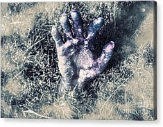 Decaying Zombie Hand Emerging From Ground Acrylic Print by Jorgo Photography - Wall Art Gallery
