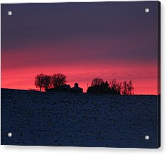 December Farm Sunset Acrylic Print