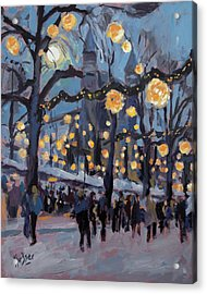 December Lights At The Our Lady Square Maastricht 1 Acrylic Print